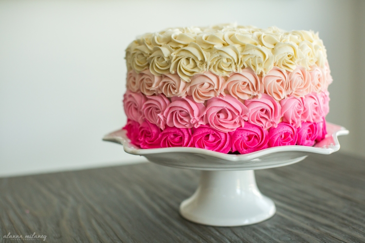 Ombre Rose Birthday Cake 1 Vanilla Cake with White Chocolate Buttercream