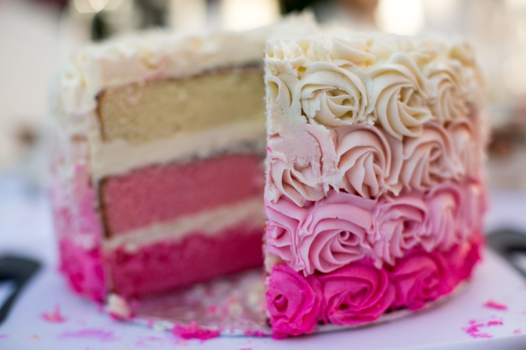 Ombre Rose Cake - Cut