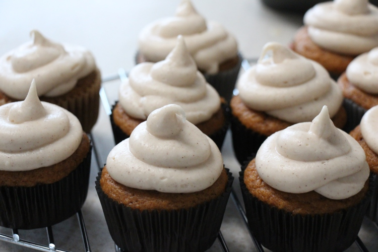 Pumpkin Spice Cupcakes with Cinnamon Cream Cheese Icing